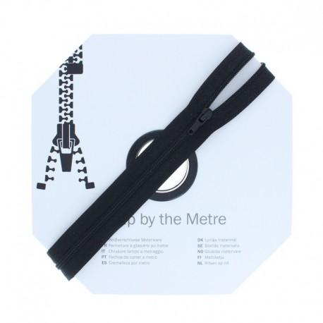 Zip by the meter with sliders (10m) - Black
