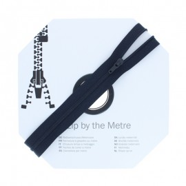 Zip by the meter with sliders (10m) - Navy blue