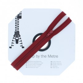 Zip by the meter with sliders (10m) - Burgundy