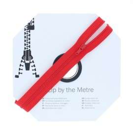 Zip by the meter with sliders (10m) - Red