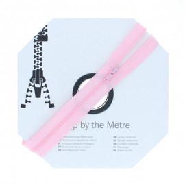 Zip by the meter with sliders (10m) - Pink