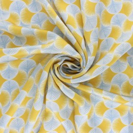 Polyester satin fabric - yellow Graphic Leaf x 50cm