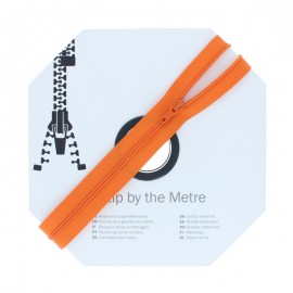Zip by the meter with sliders (10m) - Orange