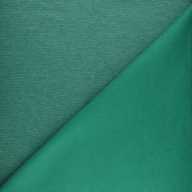 Tissu sweat à fines rayures - vert x 10cm