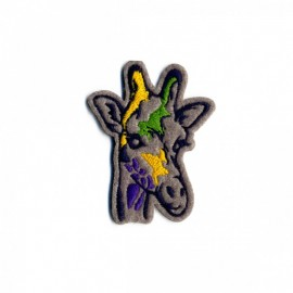 Painted Animals Iron-On Patch - Girafe