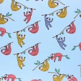 ♥ Coupon 200 cm X 150 cm ♥ Jersey cotton fabric - Blue happy sloth