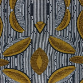 Cotton viscose voile Fabric - yellow Makeba x 10cm