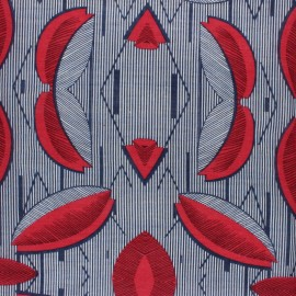 Cotton viscose voile Fabric - red Makeba x 10cm