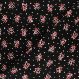 Cotton poplin fabric Poppy - black Delightful Roses x 10cm