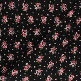 Tissu coton popeline Poppy Delightful Roses - noir x 10cm