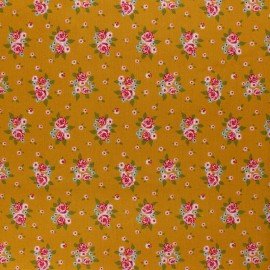 Cotton poplin fabric Poppy - mustard Delightful Roses x 10cm