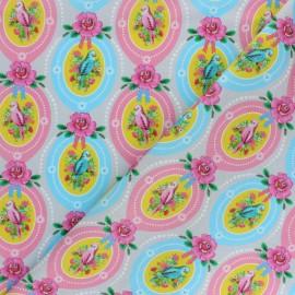 Tissu popeline Fiona Hewitt - Candy bird - rose x 10cm