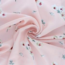 Tissu voile de viscose brodé Envol - rose x 10cm