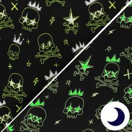 Tissu Jersey Phosphorescent Unicorn Glow - noir x 10cm