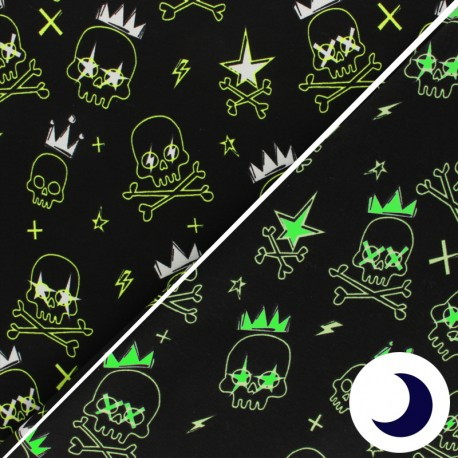 Phosphorescent Jersey Fabric - black Dino Unicorn x 10cm
