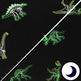 Tissu Jersey Phosphorescent Dino Glow - noir x 10cm