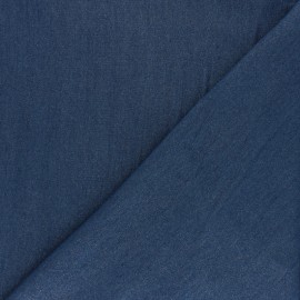 Tissu Tencel aspect jean argenté - bleu moyen x 10cm