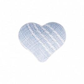 Bouton Coeur en Tissu Mily - Bleu Ciel