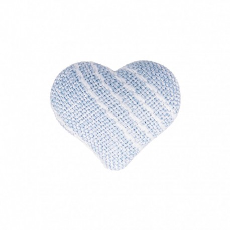 Heart Fabric Covered Button - Mily Sky Blue