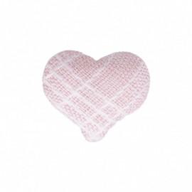 Bouton Coeur en Tissu Mily - Rose