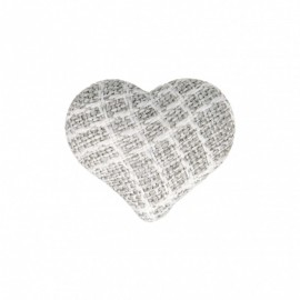 Heart Fabric Covered Button - Mily Grey