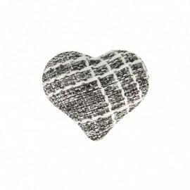 Bouton Coeur en Tissu Mily - Gris