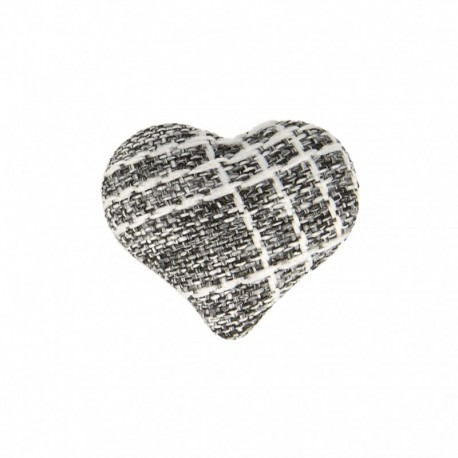 Heart Fabric Covered Button - Mily Black