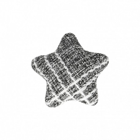 Star Fabric Covered Button - Mily Black
