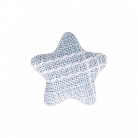 Bouton Étoile en Tissu Mily - Bleu Ciel
