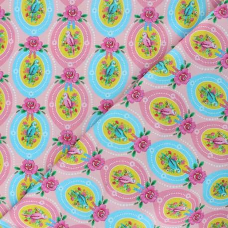 Fiona Hewitt poplin fabric - Pink Candy bird x 10cm