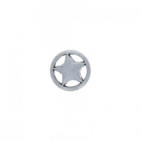 Bouton Métal Étoile Cerclée - Vieil Argent