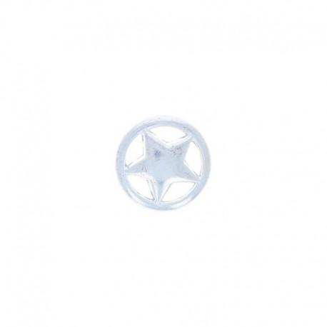 Bouton Métal Étoile Cerclée - Argent