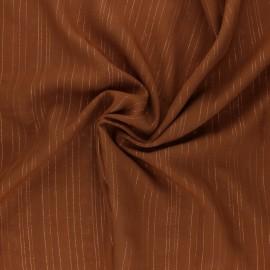 ♥ Coupon 100 cm X 140 cm ♥ Lurex Viscose voile fabric - Hazelnut Folie's