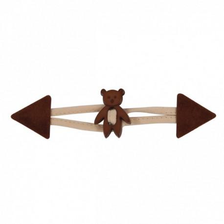 Brandebourg simili cuir Ourson enfant - chocolat