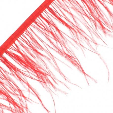 14 cm Ostrich Feather Ribbon - Red Rio x 50cm