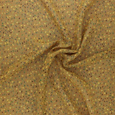 Tissu Mousseline lurex Eclat d'automne - brique x 50cm