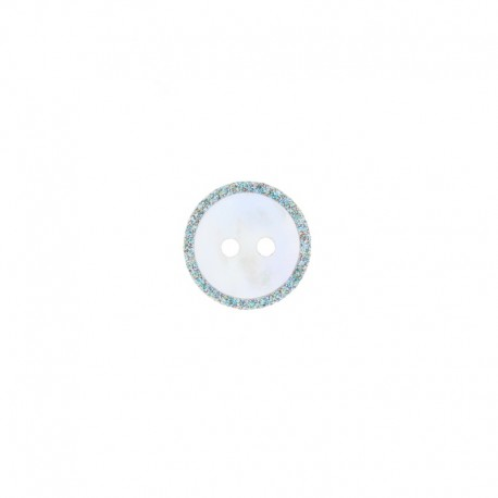 14 mm Mother-of-Pearl Button - Multi Glitter