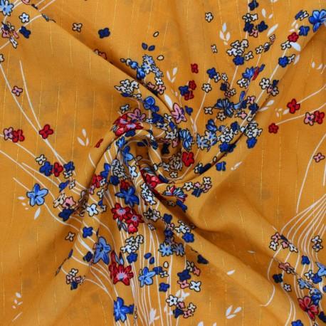 Tissu viscose Lurex Monza - Moutarde x 10cm