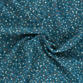 Tissu Mousseline lurex Eclat d'automne - pétrole x 50cm