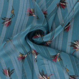 Lurex Muslin fabric - teal blue Casablanca x 50cm