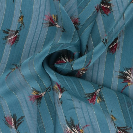 Lurex Muslin fabric - teal blue Eclat d'automne x 50cm