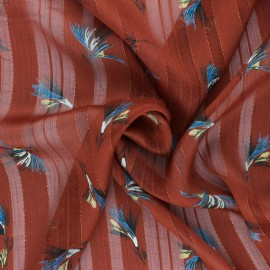 Tissu Mousseline lurex Casablanca - Brique x 50cm