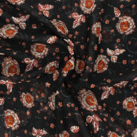 Lurex Muslin fabric - black Vérone x 50cm