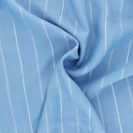 ♥ Coupon 10 cm X 140 cm ♥  Lurex Viscose voile fabric - light blue Platinium