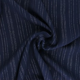 ♥ Coupon 40 cm X 140 cm ♥ Lurex Viscose voile fabric - Navy blue Folie's