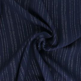 ♥ Coupon 40 cm X 140 cm ♥  Tissu voile de viscose Lurex Folie's - bleu marine
