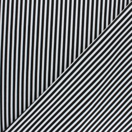 Striped twill Cotton Fabric - black Petit Malo x 10cm