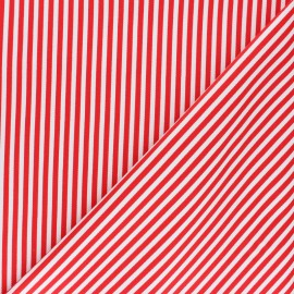 Striped twill Cotton Fabric - red Petit Malo x 10cm