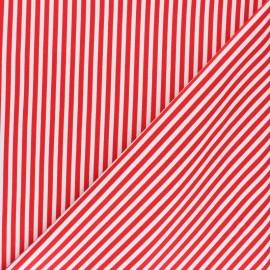 Tissu coton sergé rayé - Petit Malo rouge x 10cm
