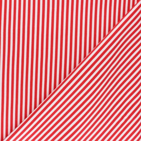 Striped twill Cotton Fabric - red Petit Malo x 10cm